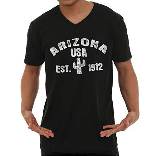 Arizona AZ Distressed Cactus Logo V-Neck T Shirts Men Women Black