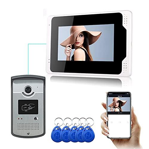 Video Portero con WiFi Inalámbrico Cableado 7 Pulgadas LCD Monitor De Video De La Puerta del Timbre De Teléfono con Tarjeta De ID 5PCS para El Seguimiento De Los Apoyos RFID Mando De Desbloqueo,A
