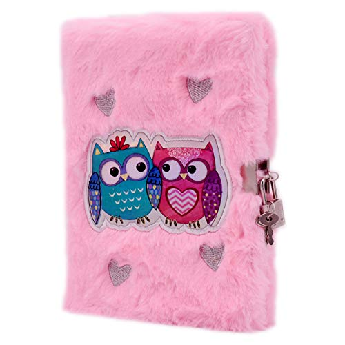 EverCreatives Owl Plush Girls Journal with Lock and 2 Keys, A5 8.5x5.5 inches 160 Lined Pages for Writing