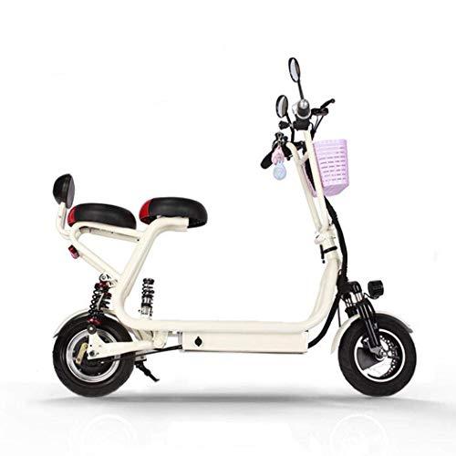 QIONGS Las Bicicletas eléctricas de Dos Ruedas Plegable Bicicleta eléctrica, Tambor de Freno, Pantalla LCD, a 35 km/h, Campo de prácticas a 45, de Iones de Litio, Asientos Dobles