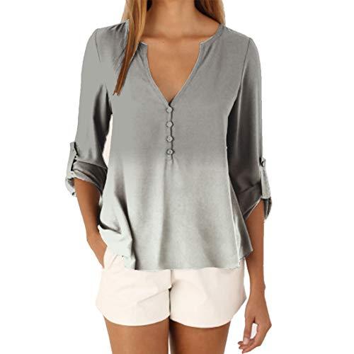 HJHK Tshirt Women Sexy V Neck Button Solid Color Loose Long Sleeve Shirt Tops Elegant Flowy Chiffon Adjustable Sleeves Light Breathable Sweatshirt Beach Vacation Shirt 3XL