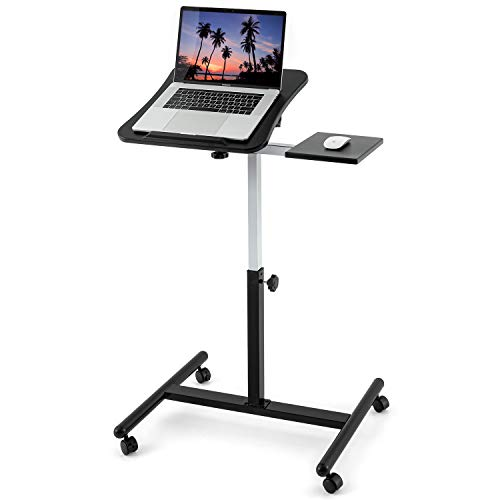 "Tatkraft Vanessa Portable Laptop Desk Adjustable Laptop Stand for 7-17"" Laptops, MacBook, Comfortable Rolling Laptop Desk for Your Home Office"