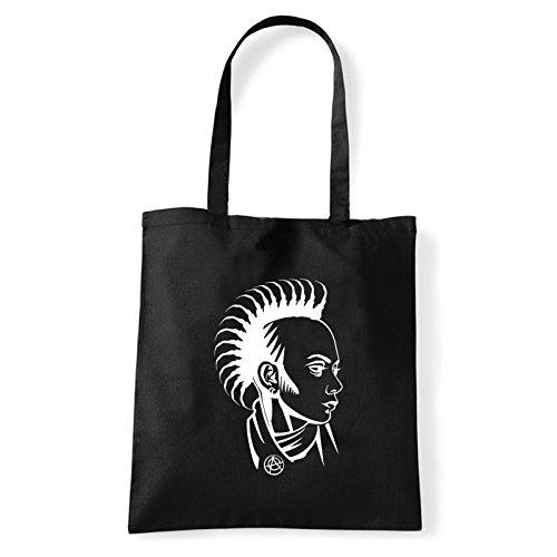 Art T-shirt punk-girl-bag - Bolso al hombro de Algodón para mujer Negro...