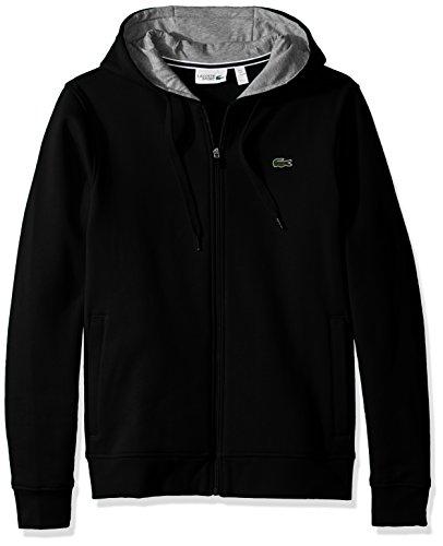 Lacoste Men's Sport Fleece Zip Up Hooded Sweatshirt, Black/Silver Chine, XL