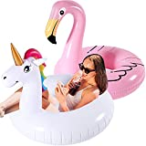 Inflatable Flamingo and Unicorn Pool Float 2 Pack,Pool Floats Summer Raft Lounger Swim Tube, Beach Pool Party Toys Decorations