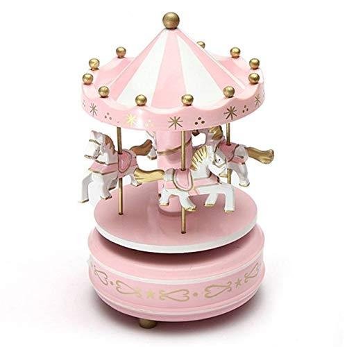 WOSOSYEYO Carillon Di Giostra Di Legno Carillon Di Giocattoli Per Bambini Compleanni Di Nozze Gift Wind-Up Horse Fairground Musical Box