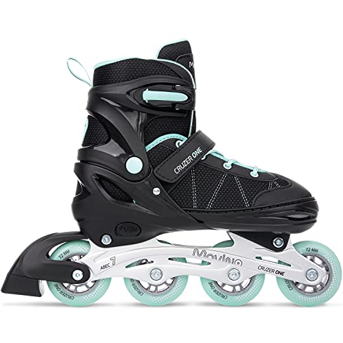 Movino Inline Skates | Cruzer One | Verstellbare Rollschuhe | Inline-Skates | ABEC7-Lager | große Räder 72 mm | Dreistufiges Befestigungssystem: Schnalle, Schnürsenkel und Gürtel