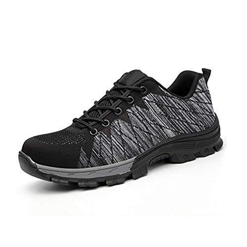 Calistouk - Chaussures de sécurité mixtes à lacets, motif camouflage, indestructibles, avec bout en acier et protection anti-perforation (pour soudage, isolation et BTP), gris foncé, 44