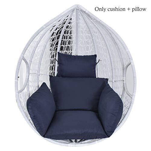 Sillón colgante de cesta, cojín para sillón colgante con forma de huevo, cojín para silla, cojín para interior y exterior azul marino