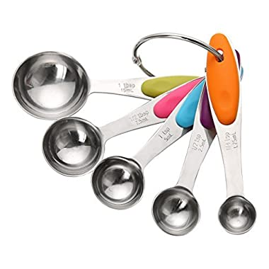 Measuring Spoons Set Stainless Steel 18/8 - Perfect for Baking and Cooking with Engraving US And Metric Measurement, Food Grade Soft Silicone Handle (Set of 5)
