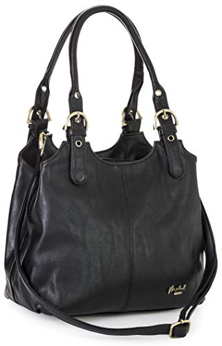Mabel London Womens Multiple Compartments Handbag - Medium Size Bag with a Long Shoulder Strap - AMELIA (Black)