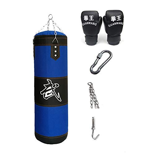 KKLU Heavy Boxing Empty Sandbag Hanging Punching Bag, Punching Bag with Gloves Special Chains and Hooks,for Man Women Kids, Indoor Or Garden, BLUE, 40in