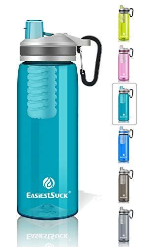 Easiestsuck Filter Water Bottle 26 oz, Medical Grade Filtered Integrated Outdoor Water Bottle, Leak Proof One-click Flip Top, Hiking,Camping,Travel,Backpacking - BPA Free