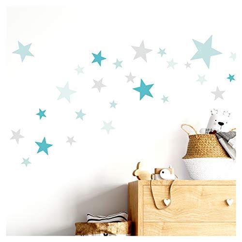 Little Deco Wandtattoo 60 Sterne Kinderzimmer Mädchen Junge Stars I türkis Mint hellgrau I viele Farben Wandaufkleber Wandsticker Set bunt selbstklebend DL409