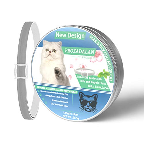 Collare Antipulci per Gatti, 100% Collare Antiparassitario Antizecche Regolabile, Impermeabile, Respinge efficacemente pidocchi, Pulci, Parassiti per Gattini, Gatti di Taglia Media e Grande (1 PCS)