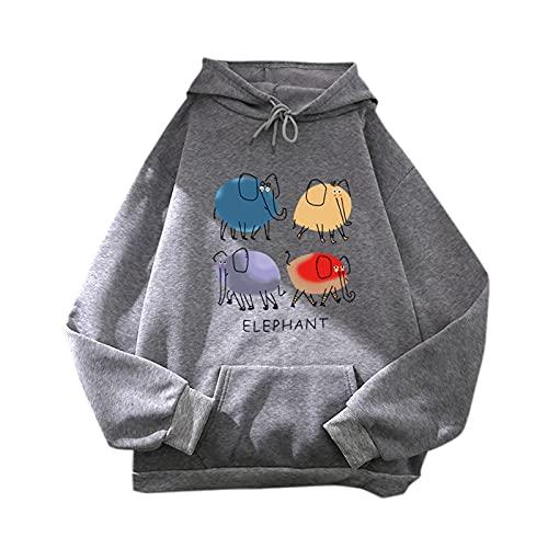 Sudaderas Mujer con Capucha Color Lisas Camiseta de Manga Larga Túnica Suéter con...