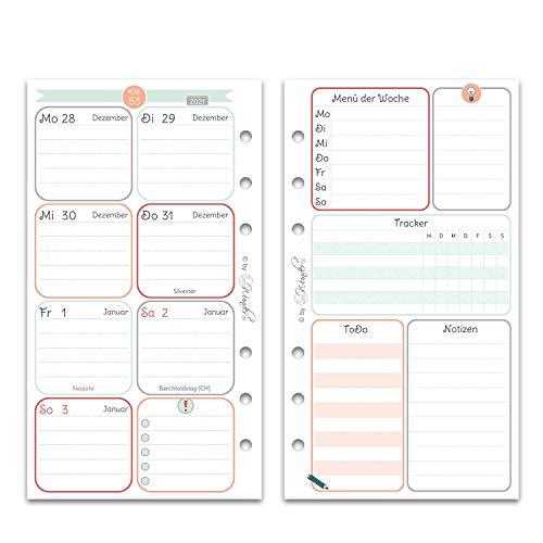 SinnWunder® Premium-Kalendereinlagen - Wochenplan mit 1 Woche auf 2 Seiten - HappySinn (2021 - Personal)