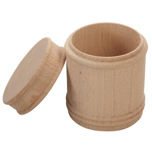 Holzdose aus massivem Buchenholz - rund - mit Deckel - unbehandelt - Höhe: 115 mm - Durchmesser: ca. 87 mm *** als Aufbewahrung für Stifte, Bonbons, Salz und ähnliches - Salzdose - Salzfass - Salzfaß - Geschenk - Geschenkidee, Holzartikel ***