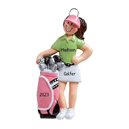 Personalized Golfer Girl Christmas Tree Ornament 2020 - Female Player Polo Shirt Bag of Clubs Golf Ball Professional Woman Member Hobby Caddy Stick Amateurs Year Pink Green - Free Customization