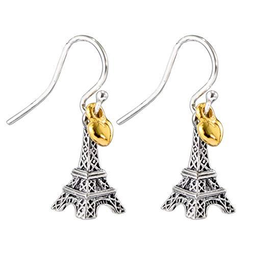 Pendientes de mujer en forma de corazón con amor de la Torre Eiffel, S925 Pendientes de moda retro simples, bajo estrés, hipoalergénicos Hermosos regalos para mujeres 01