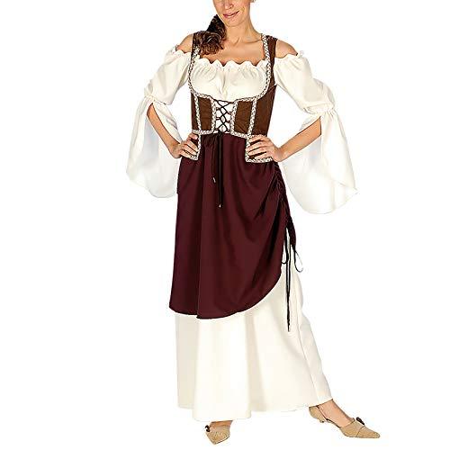 Elbenwald Maid Mujer casera Mercado de Las Damas Traje Medieval Viste con el corpiño y Sobrefalda, Vestuario - 40/42