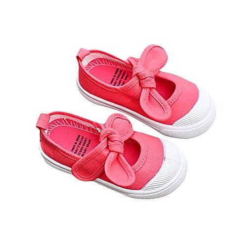 DEBAIJIA Babyschuhe 1-12 Jahre Segeltuch Turnschuhe Schleife Lauflernschuhe Anti-Rutsch Soft Sole Klettverschluss Kleinkindschuhe Mädchen 31 EU Rosa Rot (Etikettengröße 35)