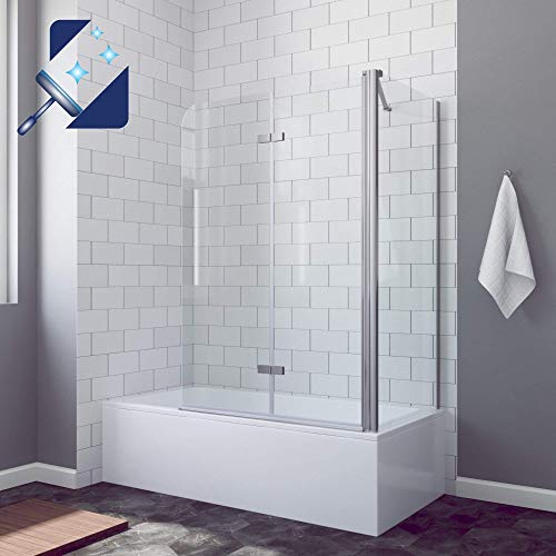 AQUABATOS® 100x70x140cm Duschabtrennung Badewannenaufsatz Badewannenfaltwandmit Seitenwand aus 5mm ESG Echtglas Sicherheitsglas mit Nanobeschichtung, pendelbar faltbar Duschwand Glas und Seitenteil