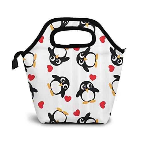 TUYUFBAGS Pinguine mit Herzen formt reizenden süßen romantischen Valentinsgruß-Tag Lunch Tasche Isoliertasche Kühltasche Lunchtasche Thermische Lunch Tasche Mittagessen Tasche für Mädchen Kinder Mama