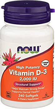 NOW Foods Supplements Vitamin D-3 2,000 IU High Potency Structural Support 240 Softgels