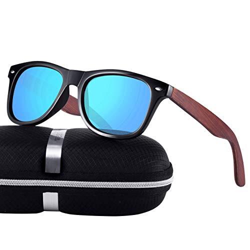 wearPro Polarisierte Holz Sonnenbrillen für Männer Frauen tragenPro Holz Sonnenbrillen UV400 Mode für das Reisen mit polarisierten Gläsern W1003 / 9003 (W BlueNail)