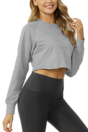 Sanutch Womens Comfy Pullover Crop Sweatshirts Thumb Hole Tops Cropped Long Sleeve Tops for Women Gym Light Grey L