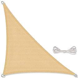 CelinaSun aurinkopurje, mukaan lukien kiinnitysköydet HDPE säänkestävä hengittävä kolmio suorakulmainen 4 x 4 x 5,65 m hiekka beige