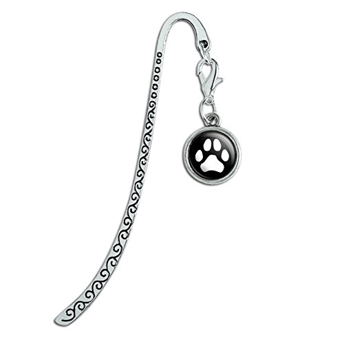 Paw Print Dog Cat White on Black Metal Bookmark Page Marker with Charm