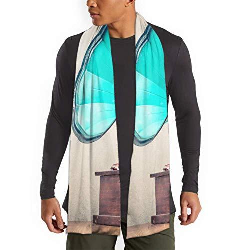 Bufanda de invierno para hombres y mujeres Bufanda de gramófono turquesa envejecida Vintage Tocadiscos Pañuelos largos lisos y cálidos para hombres - Bufandas de algodón Fo