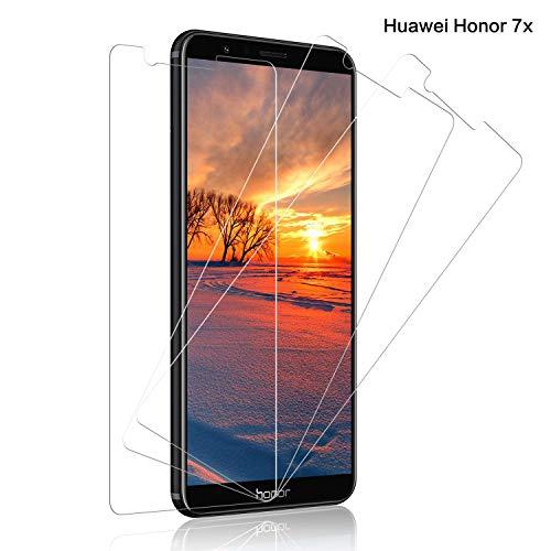 Schutzfolie für Huawei Honor 7X Panzerglas, [3 Stück] 9H Festigkeit Panzerglasfolie Bildschirmschutz für Honor 7X, Anti-Kratzen Schutzglas, Ultra Klar, Bläschenfrei Transparent, Honor 7X Bildschirmschutzfolie