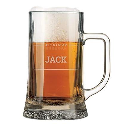 YourSurprise Jarra de Cerveza Personalizada - Jarra de Cerveza con Nombre Grabado: Personalizable con Texto, Diseños y Diferentes Tipos de Letras