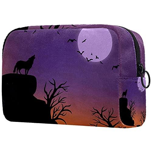 Moon - Bolsa de maquillaje con cremallera, organizador de viaje para mujeres y niñas, Multicolor 05, 18.5x7.5x13cm/7.3x3x5.1in, Neceser de viaje