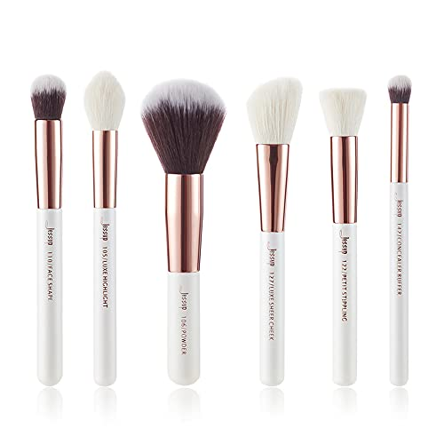 Jessup Marca 6 unids cepillo de maquillaje conjunto perla blanco/rosa oro cosm¨¦ticos Fundaci¨®n pintura mejilla destacar polvo maquillaje kits/Sets T224