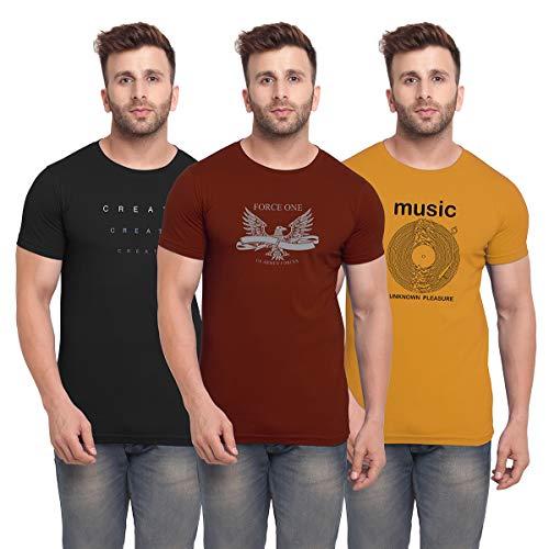 BULLMER Men's Slim Fit T Shirt (Pack of 3) (BUL-BSP015_013_017-XL_Multicolored_X-Large)
