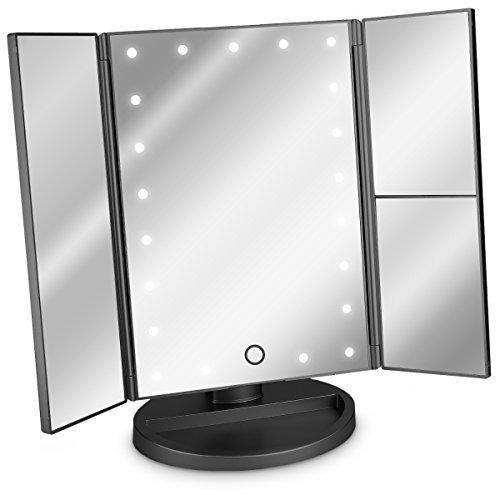 Navaris Miroir Lumineux LED 3 Faces à Poser - Miroir Maquillage Triptyque Pliable sur Pied avec Effet Grossissant x2 x3 - Pile ou USB - Noir