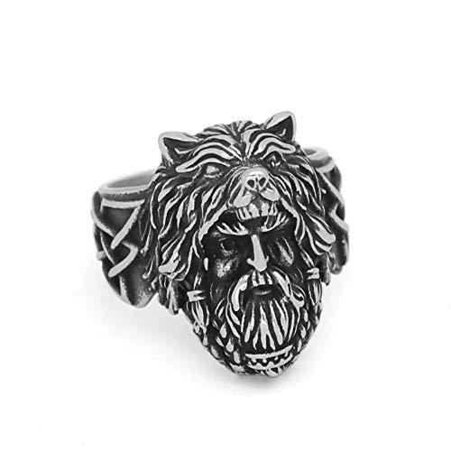 ZiFei Anillos, Amuleto Nórdico Vikingo Odin Face Wolf Geri and Freki Amulet Anillo de Acero Inoxidable,11