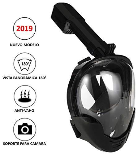Máscara de Snorkel o Buceo con visión panorámica 180° Real con Pantalla Curva, Sistema antivaho y Soporte para cámara Deportiva (S-M)