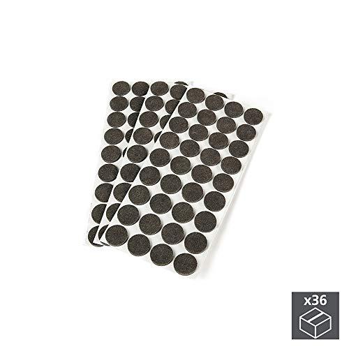 Emuca - Runde Selbstklebende flizgleiter für möbel, braun Farbe, Ø40 mm, Set aus 36 flizgleiter