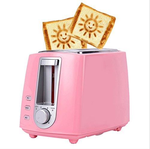 NANXCYR Multifunktions-Toaster Automatische Frühstücksmaschine Sandwich-Maschine Automatische Sicherheitsabschaltung Edelstahl 6 Temperatureinstellung 2 Slice Home (Farbe : Rosa)