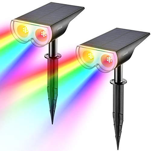 Linkind Farbig Solar Dusk to Down Gartenleuchten, Bunt Multicolar Licht-Sensor Solarlampe, IP67 Wasserdicht Solarleuchte, 4 Modi Gartenstrahler, 2er Pack
