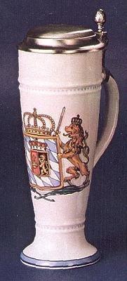 Zimmermann Bierseidel Bier-Krug Wappen anno 1806 Weißbierkrug mit Zinndeckel und Henkel 0,5l