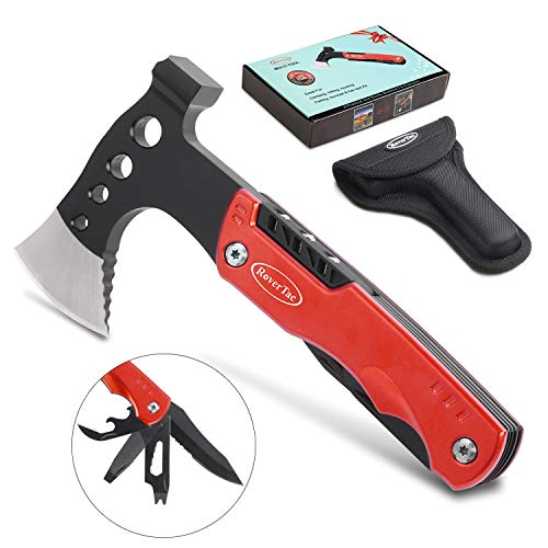 RoverTac Multitool Camping Tool Survival Gear Unique Gifts for Men and Women Sturdy 12 in 1 Stainless Steel Multi Tool with Axe Hammer Knife Screwdrivers Wrenches Bottle Opener Upgraded Durable Sheath