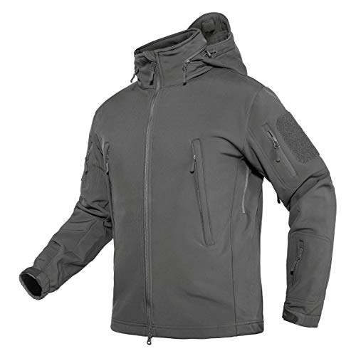 TACVASEN Men's Multi-Pocket Concealed Hood Tactical Fleece Jacket Coat Gray,US L(fit chest:39'-42')
