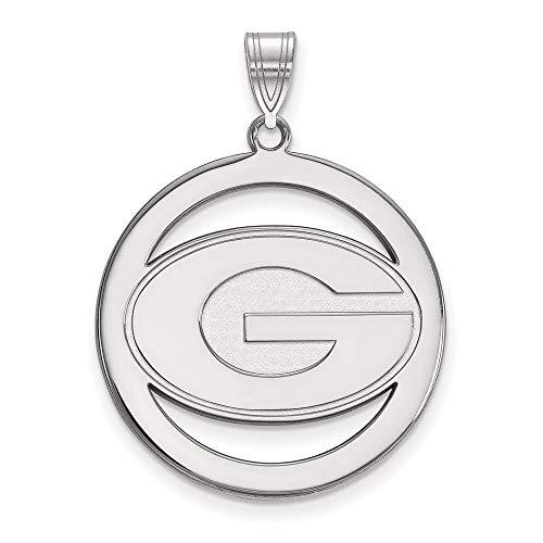 Charm Pendant White Sterling Silver Georgia NCAA University Of 33 mm 26
