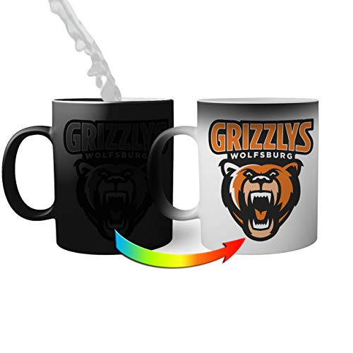 Ice Hockey Team Grizzlys Wolfsburg Eishockey Magic Becher Mug| Lustige Neuheit Magic Becher für Kaffee Tee 330ml